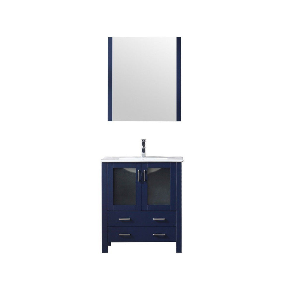 "Lexora Volez 30"" Single Vanity, Integrated Top and 28"" Mirror with Faucet Lexora 30 inch Single Vanity Navy Blue"