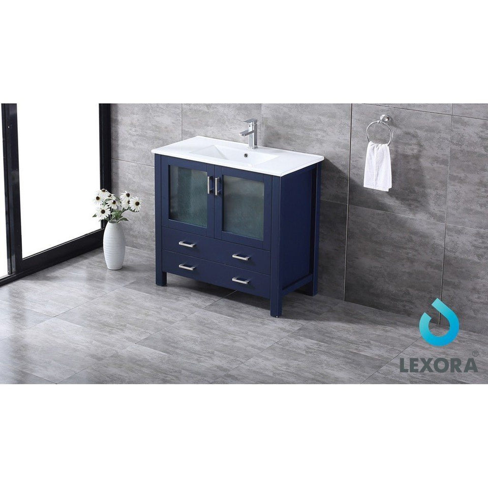 "Lexora Volez 36"" Single Vanity, Integrated Top and 34"" Mirror with Faucet Lexora 36 inch Single Vanity"