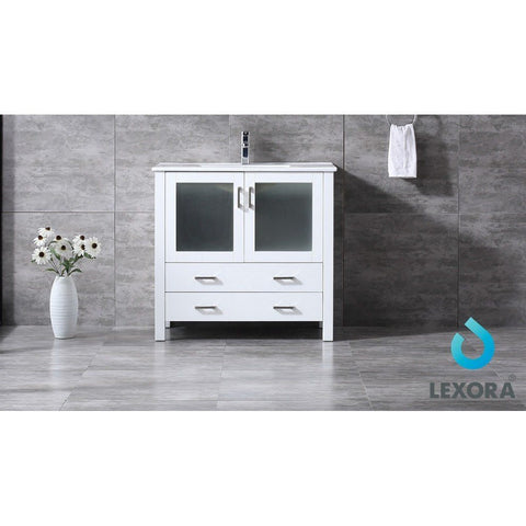 "Lexora Volez 36"" Single Vanity, Integrated Top and 34"" Mirror with Faucet Lexora 36 inch Single Vanity White"