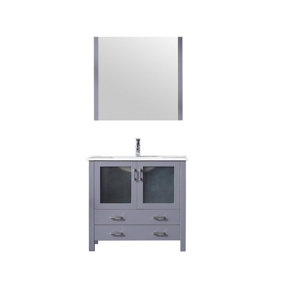 "Lexora Volez 36"" Single Vanity, Integrated Top and 34"" Mirror with Faucet Lexora 36 inch Single Vanity Dark Grey"