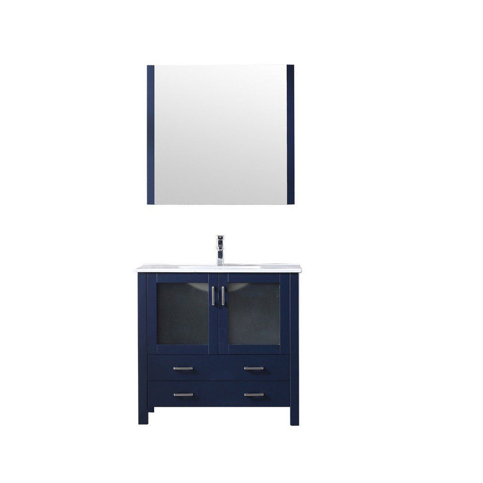 "Lexora Volez 36"" Single Vanity, Integrated Top and 34"" Mirror with Faucet Lexora 36 inch Single Vanity Navy Blue"