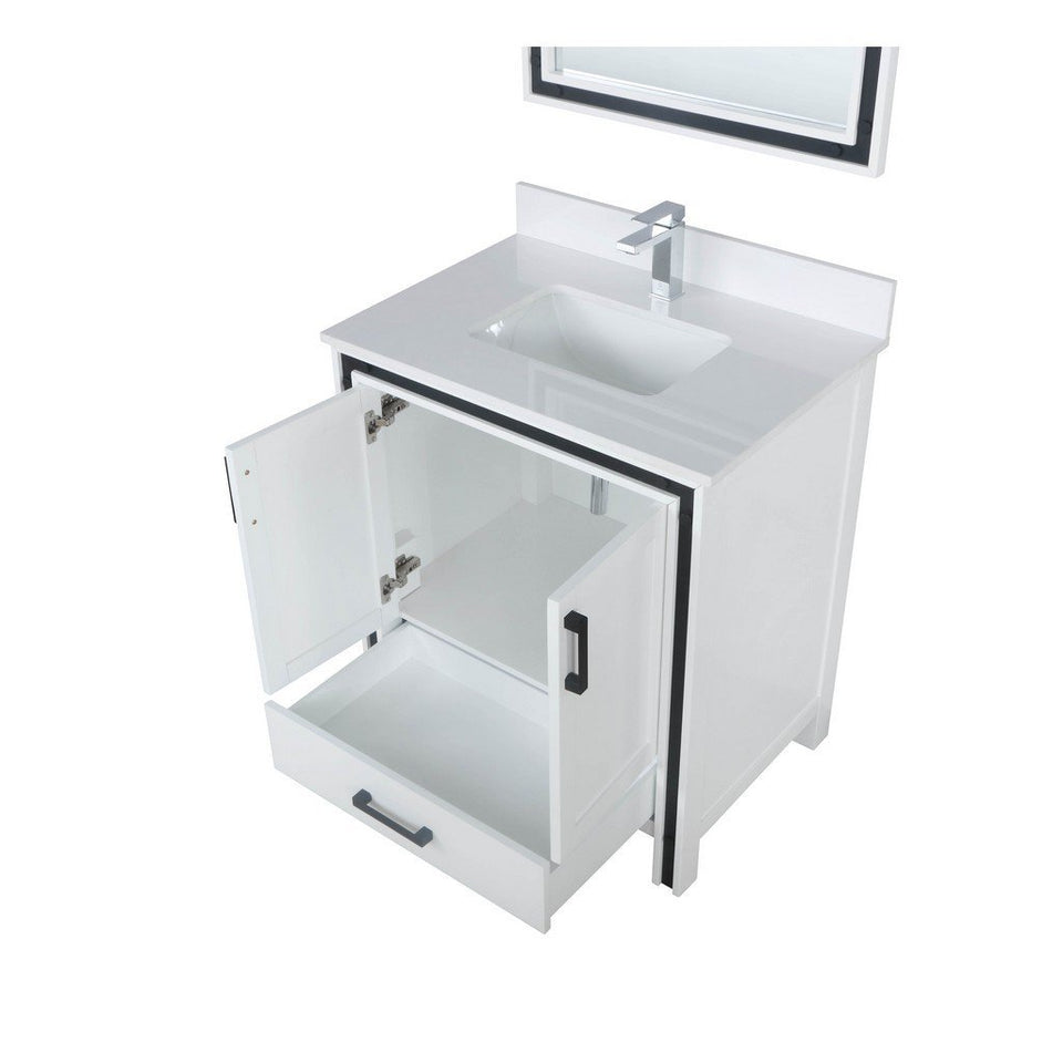 "Lexora Ziva 30"" Single Vanity, Cultured Marble Top and 28"" Mirror Lexora 30 inch Single Vanity"