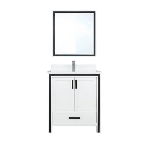 "Lexora Ziva 30"" Single Vanity, Cultured Marble Top and 28"" Mirror Lexora 30 inch Single Vanity White"