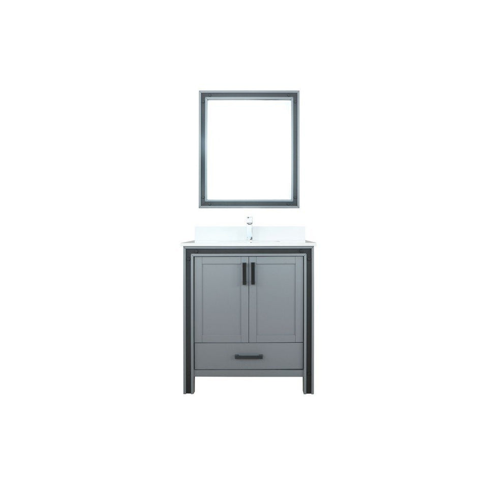 "Lexora Ziva 30"" Single Vanity, Cultured Marble Top and 28"" Mirror Lexora 30 inch Single Vanity Dark Grey"