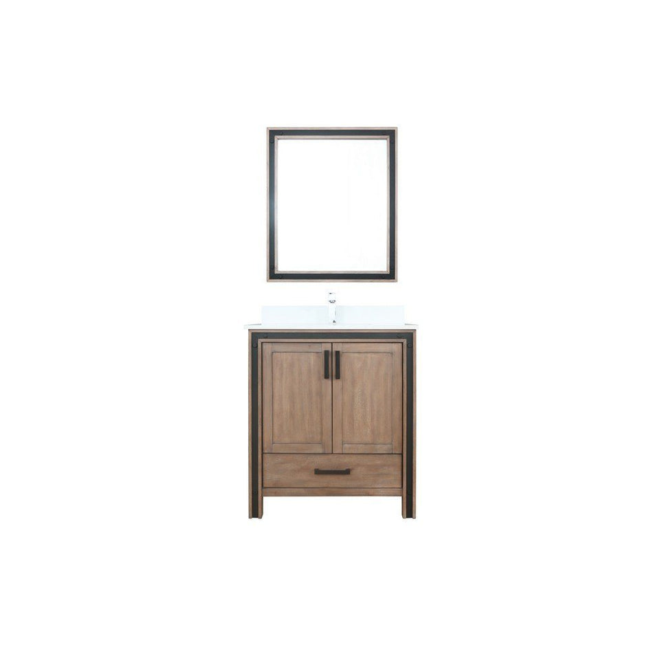 "Lexora Ziva 30"" Single Vanity, Cultured Marble Top and 28"" Mirror Lexora 30 inch Single Vanity Rustic Barnwood"