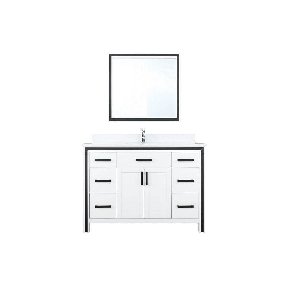"Lexora Ziva 48"" Single Vanity, Cultured Marble Top and 34"" Mirror Lexora 48 inch Single Vanity White"