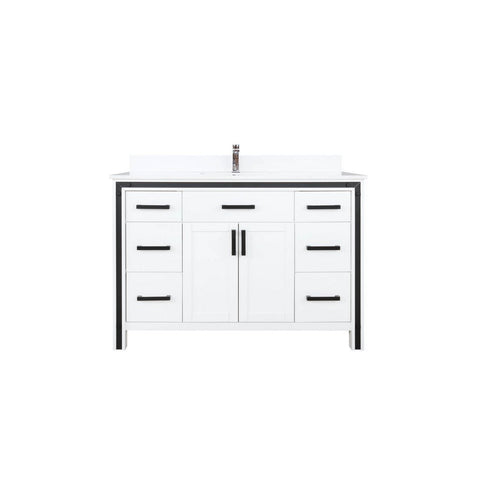 "Lexora Ziva 48"" Single Vanity with Cultured Marble Top Lexora 48 inch Single Vanity White"