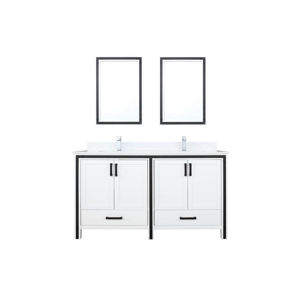 "Lexora Ziva 60"" Double Vanity, Cultured Marble Top and 22"" Mirrors Lexora 60 inch Double Vanity White"