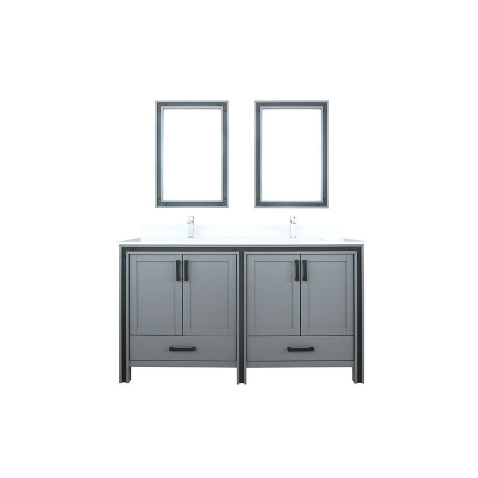"Lexora Ziva 60"" Double Vanity, Cultured Marble Top and 22"" Mirrors Lexora 60 inch Double Vanity Dark Grey"