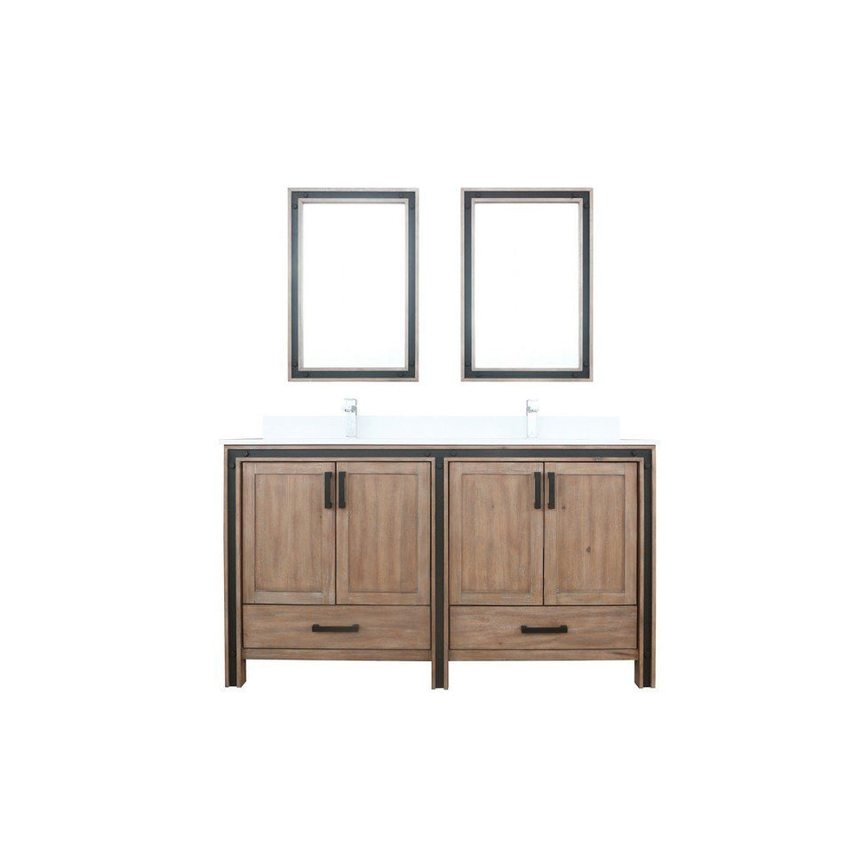 "Lexora Ziva 60"" Double Vanity, Cultured Marble Top and 22"" Mirrors Lexora 60 inch Double Vanity Rustic Barnwood"