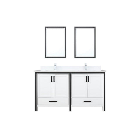 "Lexora Ziva 60"" Double Vanity, Cultured Marble Top and 22"" Mirrors with Faucet Lexora 60 inch Double Vanity White"