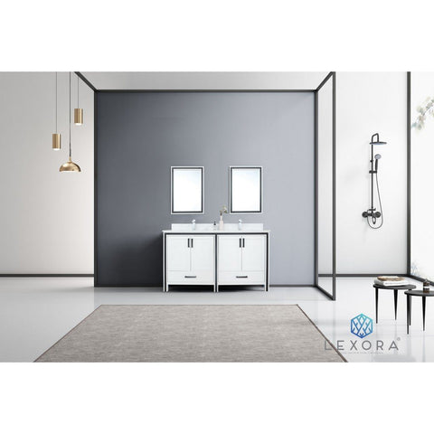 "Lexora Ziva 60"" Double Vanity with Cultured Marble Top Lexora 60 inch Double Vanity White"