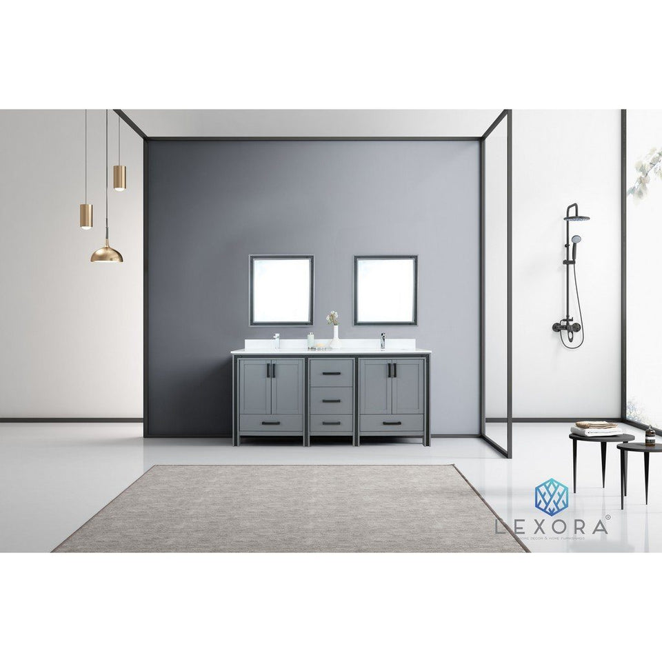 "Lexora Ziva 72"" Double Vanity, Cultured Marble Top and 30"" Mirrors Lexora 72 inch and larger Double Vanity"