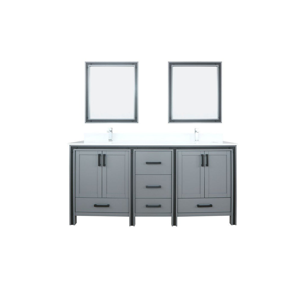 "Lexora Ziva 72"" Double Vanity, Cultured Marble Top and 30"" Mirrors Lexora 72 inch and larger Double Vanity Dark Grey"