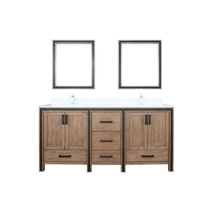 "Lexora Ziva 72"" Double Vanity, Cultured Marble Top and 30"" Mirrors Lexora 72 inch and larger Double Vanity Rustic Barnwood"