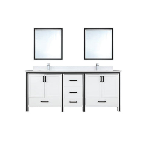 "Lexora Ziva 72"" Double Vanity, Cultured Marble Top and 30"" Mirrors with Faucet Lexora 72 inch and larger Double Vanity White"