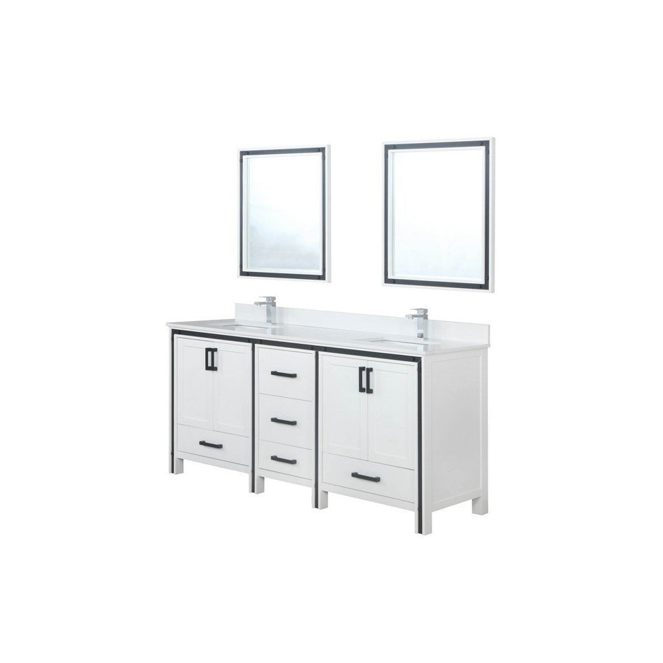 "Lexora Ziva 72"" Double Vanity with Cultured Marble Top Lexora 72 inch and larger Double Vanity White"