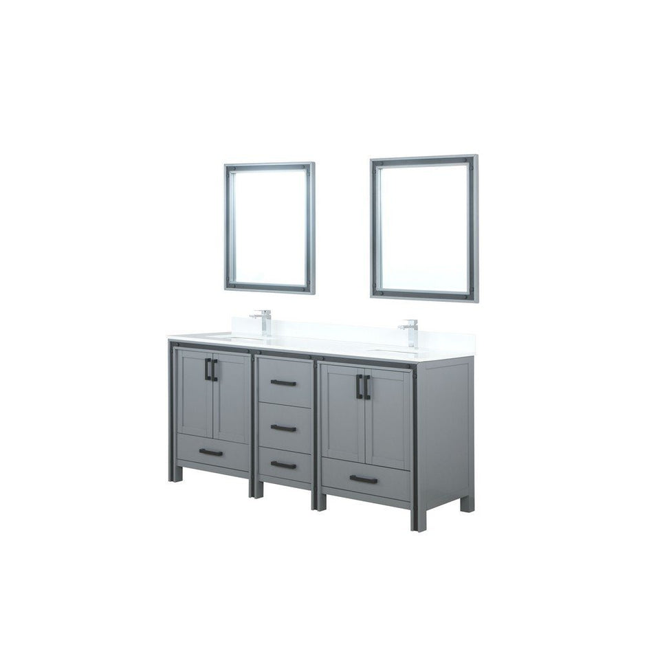"Lexora Ziva 72"" Double Vanity with Cultured Marble Top Lexora 72 inch and larger Double Vanity Dark Grey"