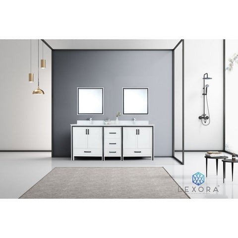 "Lexora Ziva 80"" Double Vanity, Cultured Marble Top and 30"" Mirrors with Faucet Lexora 72 inch and larger Double Vanity White"