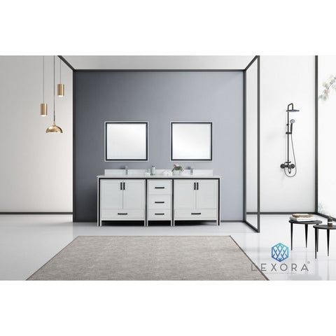 "Lexora Ziva 84"" Double Vanity, Cultured Marble Top and 34"" Mirrors with Faucet Lexora 72 inch and larger Double Vanity White"