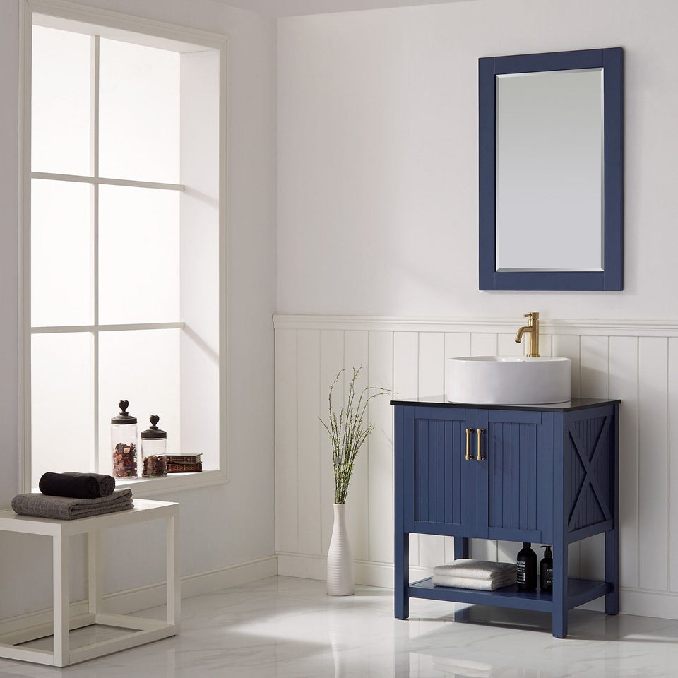 "Modena 28"" Vanity in Royal Blue with Glass Countertop with White Vessel Sink Vinnova Vanities"