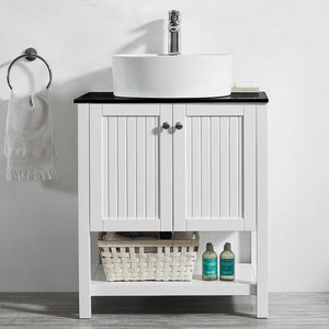 "Modena 28"" Vanity in White with Glass Countertop with White Vessel Sink Vinnova Vanities"