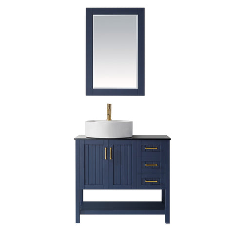 "Modena 36"" Vanity in Royal Blue with Glass Countertop with White Vessel Sink Vinnova Vanities"