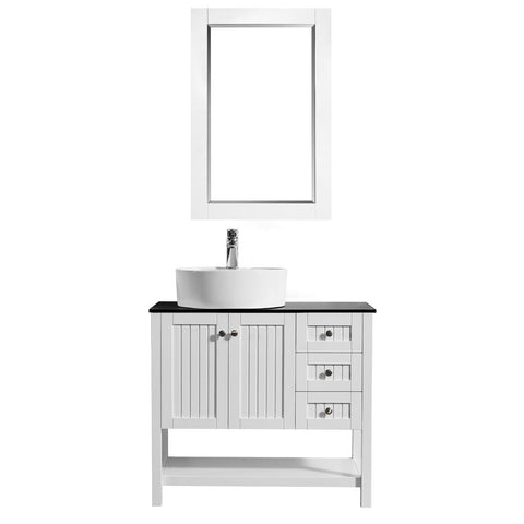 "Modena 36"" Vanity in White with Glass Countertop with White Vessel Sink Vinnova Vanities"