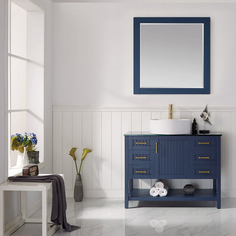 "Modena 42"" Vanity in Royal Blue with Glass Countertop with White Vessel Sink Vinnova Vanities"