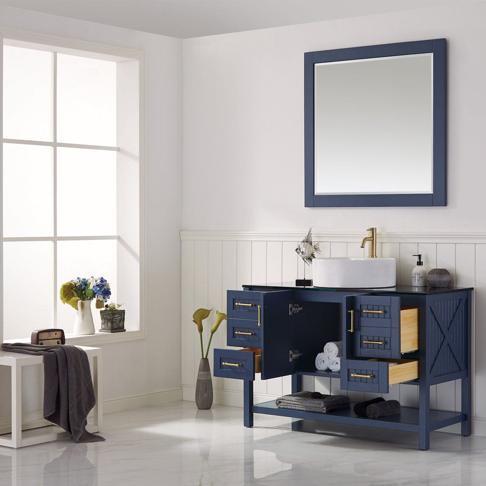 "Modena 48"" Vanity in Royal Blue with Glass Countertop with White Vessel Sink Vinnova Vanities"