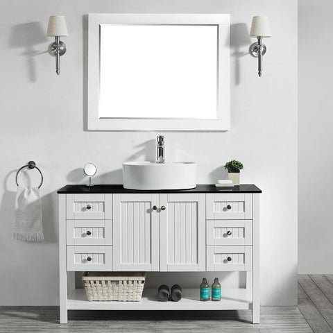 "Modena 48"" Vanity in White with Glass Countertop with White Vessel Sink Vinnova Vanities"