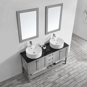 "Modena 60"" Double Vanity in Grey with Glass Countertop with White Vessel Sink Vinnova Vanities"