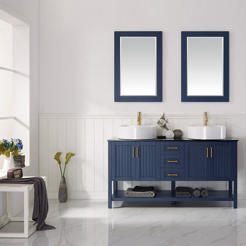 "Modena 60"" Double Vanity in Royal Blue with Glass Countertop with White Vessel Sink Vinnova Vanities"
