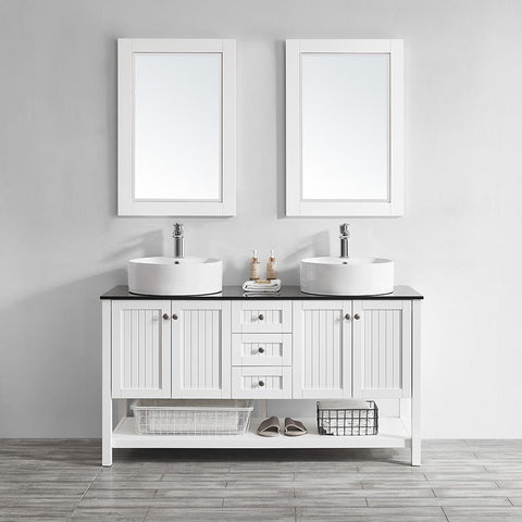 "Modena 60"" Double Vanity in White with Glass Countertop with White Vessel Sink Vinnova Vanities"