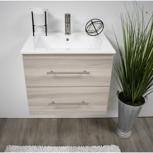"Napa 24"" Modern Wall-Mounted Floating Bathroom Vanity with Ceramic Top and Round Handles MTD Vanities Vanities Ash Grey"