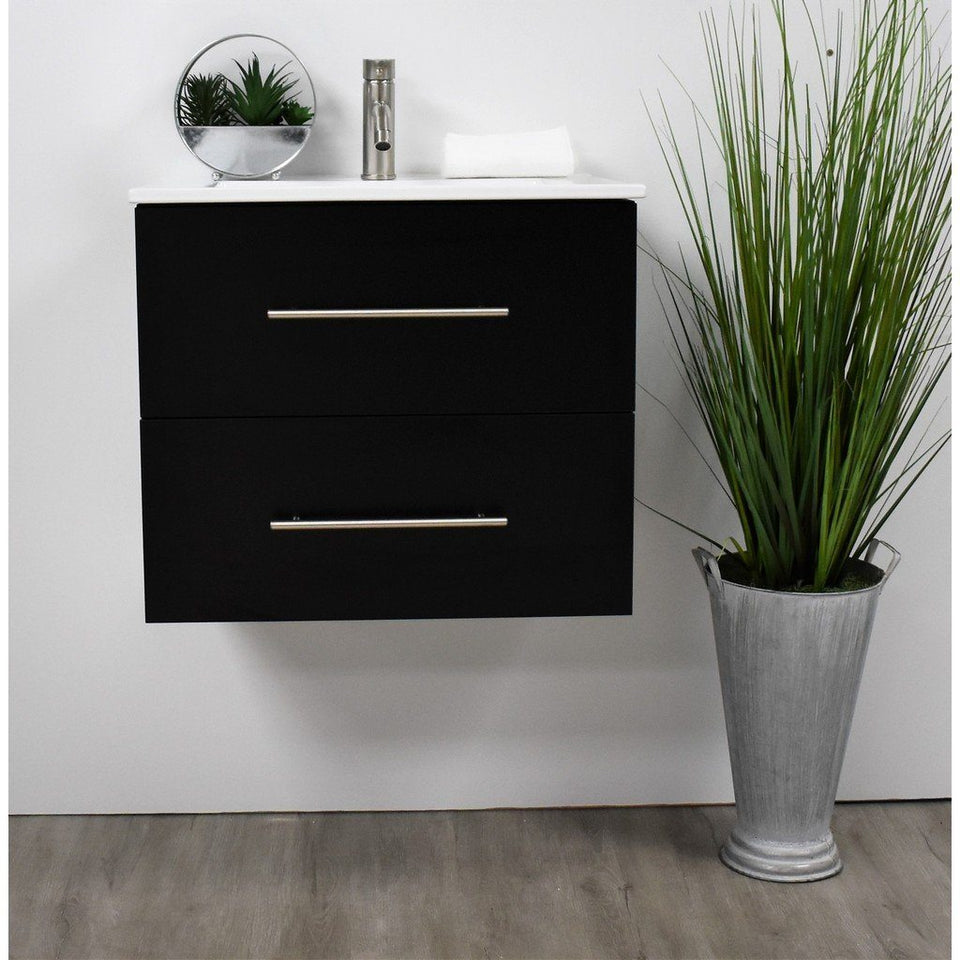 "Napa 24"" Modern Wall-Mounted Floating Bathroom Vanity with Ceramic Top and Round Handles MTD Vanities Vanities Black"