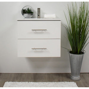 "Napa 24"" Modern Wall-Mounted Floating Bathroom Vanity with Ceramic Top and Round Handles MTD Vanities Vanities White"