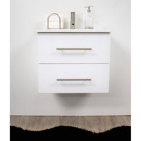 "Napa 30"" Modern Glossy Wall-Mounted Floating Bathroom Vanity with Ceramic Top and Round Handles MTD Vanities Vanities Glossy White"