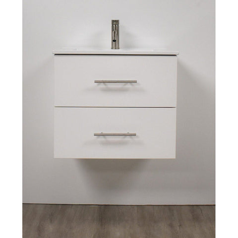 "Napa 30"" Modern Wall-Mounted Floating Bathroom Vanity with Ceramic Top and Round Handles MTD Vanities Vanities White"