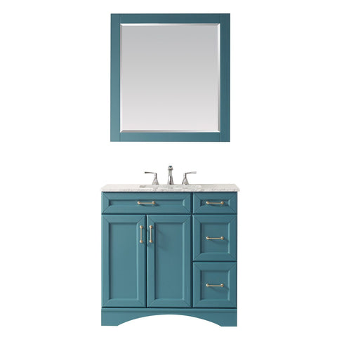 "Naples 36"" Vanity in Royal Green with Carrara White Marble Countertop Vinnova Vanities"