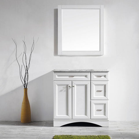 "Naples 36"" Vanity in White with Carrara White Marble Countertop Vinnova Vanities"