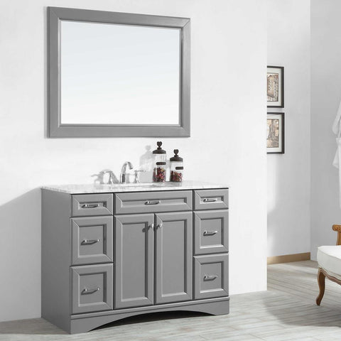 "Naples 48"" Vanity in Grey with Carrara White Marble Countertop Vinnova Vanities"