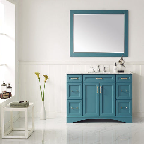 "Naples 48"" Vanity in Royal Green with Carrara White Marble Countertop Vinnova Vanities"