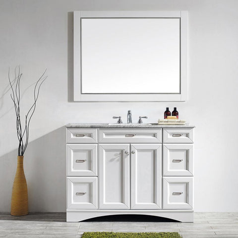 "Naples 48"" Vanity in White with Carrara White Marble Countertop Vinnova Vanities"