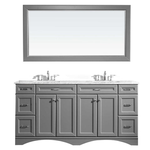 "Naples 72"" Vanity in Grey with Carrara White Marble Countertop Vinnova Vanities"