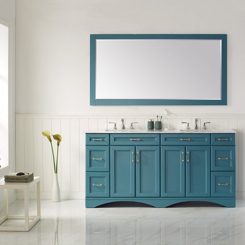 "Naples 72"" Vanity in Royal Green with Carrara White Marble Countertop Vinnova Vanities"