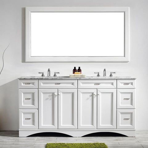"Naples 72"" Vanity in White with Carrara White Marble Countertop Vinnova Vanities"