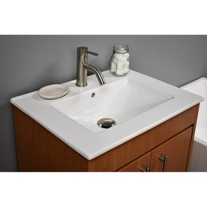 "Pacific 24"" Modern Bathroom Vanity with Integrated Ceramic Top and Brushed Nickel Round Handles MTD Vanities Vanities"