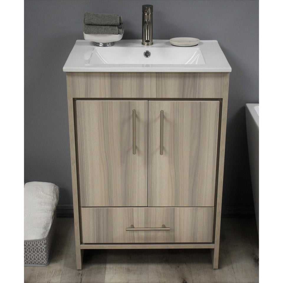 "Pacific 24"" Modern Bathroom Vanity with Integrated Ceramic Top and Brushed Nickel Round Handles MTD Vanities Vanities Ash Grey"