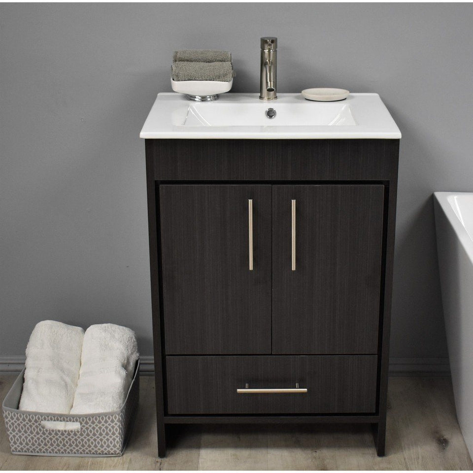 "Pacific 24"" Modern Bathroom Vanity with Integrated Ceramic Top and Brushed Nickel Round Handles MTD Vanities Vanities Black Ash"